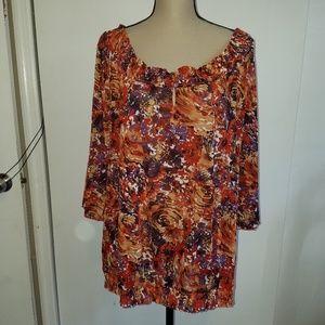NWT Avenue 18/20 Semi Sheer Blouse Shirt